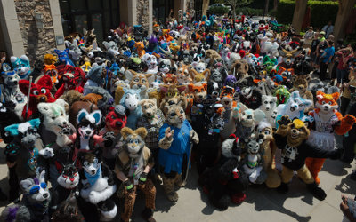 Califur IX Fursuit Parade group shot, by Warphammer