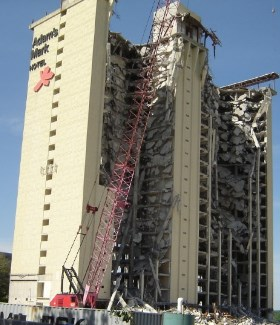Demolition of the Adams Mark Hotel. 