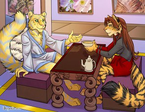 Captain Zhane and Ranezath drink tea; art by Stephanie Stone (Cybercat)