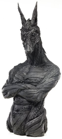 Jackal-man tyre sculpture by Yong Ho Ji