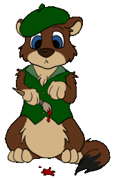 Weasyl's site mascot, Wesley, drawn by Fay V.