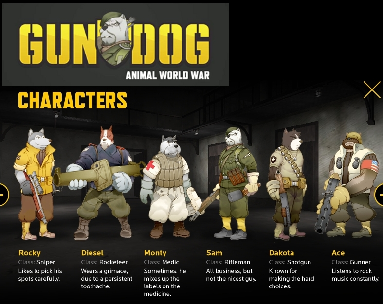 Gundog game logo and characters
