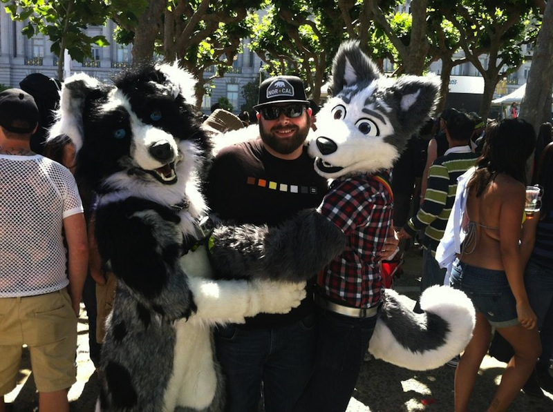 Trip on left, me on right, with a cool hug-seeker