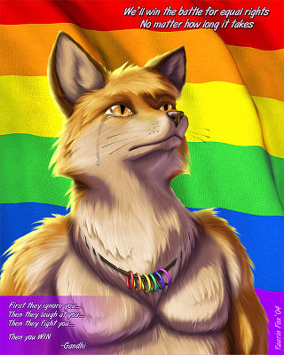 Fox standing proudly with a gay pride necklace