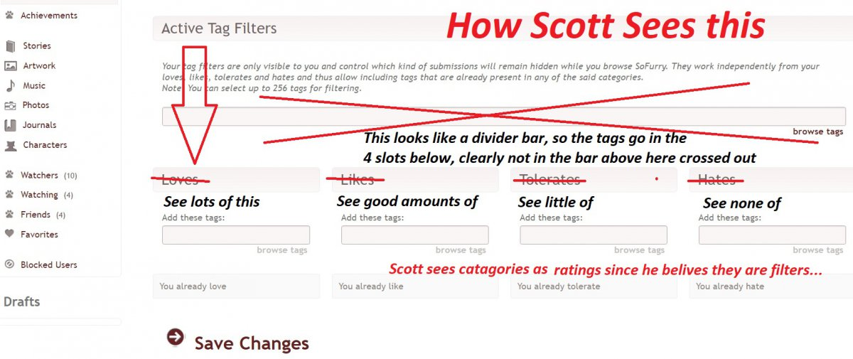 Annotated screenshot of Scott sees the filters
