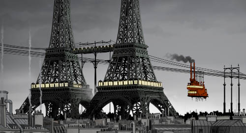A cablecar travels by the twin Eiffel Towers.
