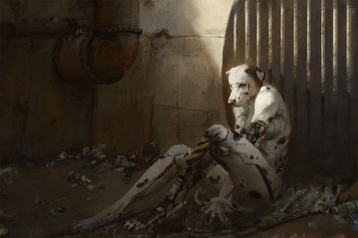 A damaged, anthropomorphic and cybernetic dalmatian languishes alone, sitting against a sewer grate.