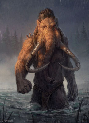 Crossing, artwork from 2017 depicting a mammoth by Caraid and Nomax.