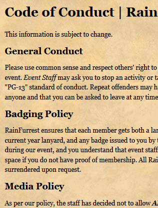A clip from RainFurrest 2015's Code of Conduct