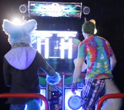 Two furries play Dance Dance Revolution.