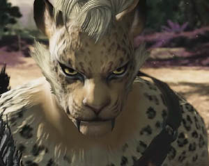 A hrothgar, a feline humanoid race from the upcoming Final Fantasy XIV Shadowbringers expansion.