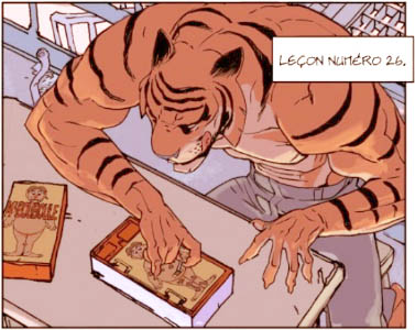 A tiger practices using his fingers to do delicate work.