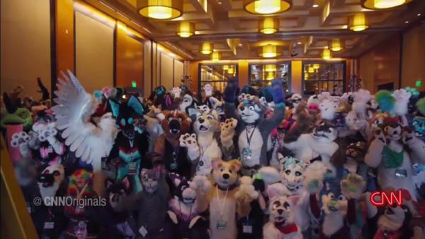 A large group of fursuiters at Anthro Northwest 2017.