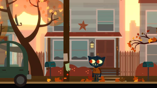 Mae stands on a residential street.