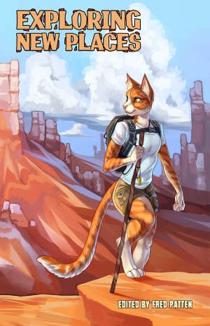 A feline hiker explores a rocky landscape similar to the Grand Canyon.
