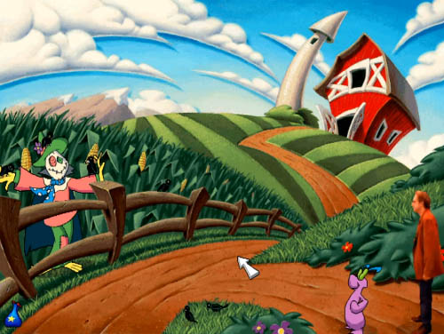 A cartoon field filled with maize and a carecrow... I mean, scarecrow, with a farmhouse and blue sky in the background