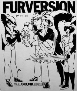 The cover of Furversion number 21, a zine from 1990, the all skunk issue