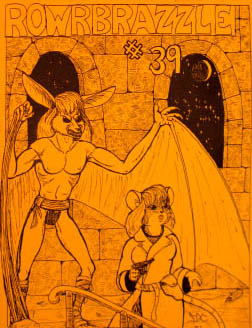 One of the covers from Rowrbrazzle number 39, which was so thick it was split up into four parts. An APA from 1993. This cover shows a bat sneaking up on a mouse who is holding a gun.