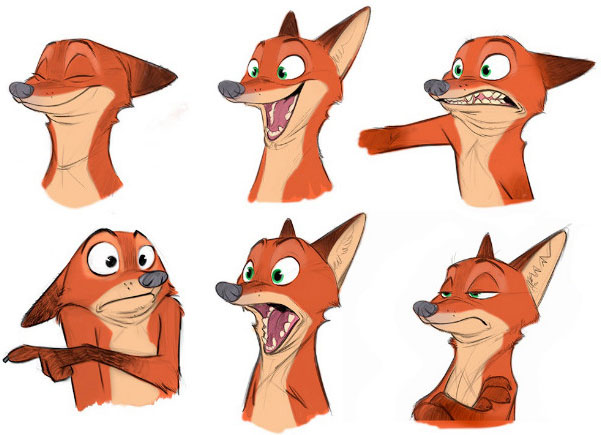 Sketches of Nick the fox showing several facial expressions.