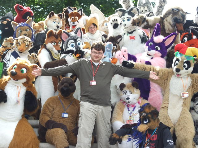 Furble and the fursuiters. Photo by Mikepaws.