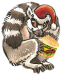 Pablo Lemurr with a cheeseburger